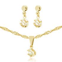 Cordão De Perola Feminino Conjunto Em Ouro 18k Corrente Lind