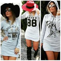 Vestido Feminino Curto Moletom Paris, Rock, 88 #q22k
