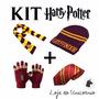 Kit Cachecol Touca Luva Gravata Harry Potter Grifinória 4 Pc