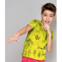 Camiseta Infantil Manga Curta Paco Kids - Amarela E Preta