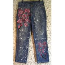 Calça Jeans 48 Lycra Customizada Feito À Mão Cintura Alta
