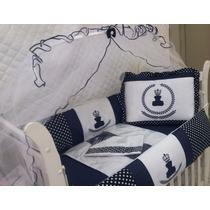 Kit Protetor Berço Bebê Coroa Ursinho Rei Realeza Marinho
