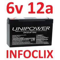 Bateria Selada 6v 12a Up6120 Brinquedos 12ah Unipower *