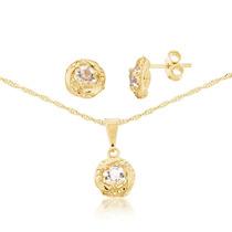 Cordão Feminino Com Pedra De Brilhante Banhado Em Ouro 18k