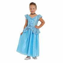 Fantasia Princesa Cinderela Cristal Infantil Std Tamanho G