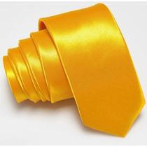 Gravata Slim Fit Amarela Importada Poliéster Acetinado 5cm
