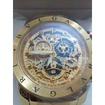 Relógio Bulgari Nuclear (dourado Com Detalhes Em Azul)