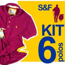 Kit 6 Camisas Polos Masculinas Original Qualidade Importada