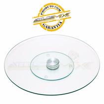 Centro De Mesa Giratório Vidro Transparente 30cm X 2,5cm