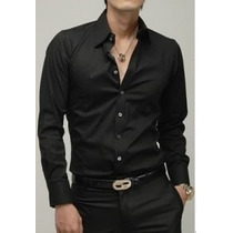 Camisa Social Preta Masculina Tricoline Pronta Entrega