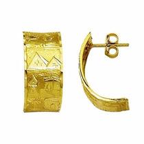 Brinco Escrava Egito Trabalhado 1.1 Cm Ouro 18k Frete Grati