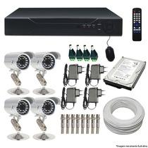 Kit Dvr 4 Cameras Infra Sony 600l + Hd Frete Gratis Cod 796