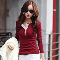 Mulheres Camiseta Decote Redondo Manga Longa Sólido Algodão