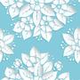 Papel De Parede Adesivo Floral Fundo Azul Em 3d