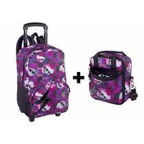 Kit Mochila Rodinhas Monster High Rock + Lancheira 15t06