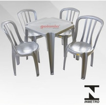 Conjunto De Mesa E Cadeiras De Plástico Cinza Inox Goiania