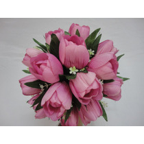 Buque Bouquet Noiva Tulipas Cor De Rosa Artificial
