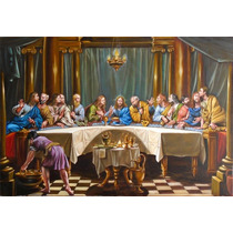 Quadro Santa Ceia 80x120cm Pintura Sacra Óleo Sobre Tela