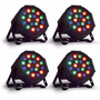 Kit 4 Refletor Led Par 64 Rgb 18 Leds 1w Dmx Digital Strobo