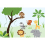 Painel Decorativo Festa Infantil Safari Zoo Animais (mod4)