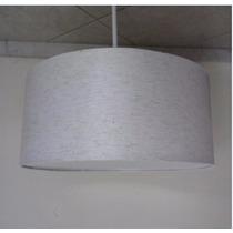 Pendente Tecido 55cm Luminária De Teto Lustre Cupula Linho