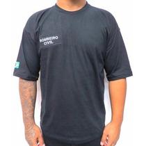 Camiseta Preta Bombeiro Civil - Bandeira Do Brasil