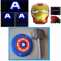 Mascara Homem De Ferro + Capitão America + Escudo E Martelo