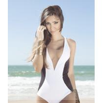 Maiô Feminino Body Decotado Com Tule Sofisticado Lycra Praia