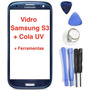 Tela Vidro S/ Touch Azul Galaxy S3 I9300 + Chaves + Cola Uv