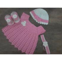 Conjunto De Vestido Em Croche Para Bebe