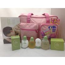 Bolsa C/ Trocador Rosa Menina + Kit Natura Mamãe E Bebê
