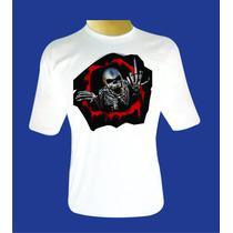 Camiseta Branca 100% Poliéster Com Estampas No Atacado
