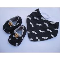 Sapatinho Para Bebês + Babador Masculino Com 4 Kits