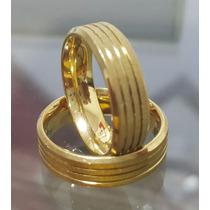 Par De Aliança Chanfrada 6mm Banhada Ouro 18k C Certificado