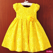 Vestido Festa Infantil Luxo Renda Princesa Bela Com Tiara