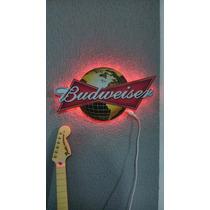 Placa Cerveja Budweiser Iluminada Led Neon Luminaria