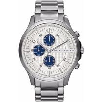 Relógio Armani Exchange Ax2136 Prata Azul Na Caixa E Manual.