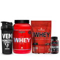 Combo Nutri Whey + Power Whey + Monster Bcaa 5200 +coq.preta