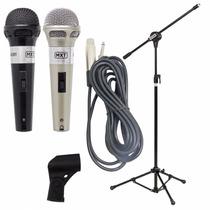 2 Microfones Profissionais + Pedestal Com Cachimbo + Cabos