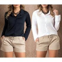 Camisa Blusa Feminina Social Casual Slim Pronta Entrega