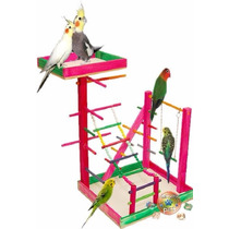 Poleiro Brinquedo Parque P/ Calopsita C/ Escada 29x26x40 Cm