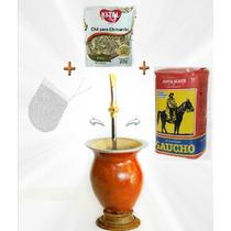 Pc6 Kit Cuia De Chimarrão Porongo + Bomba+erva+chá+manual