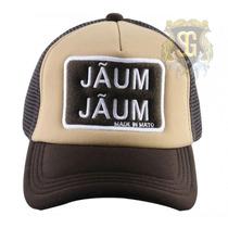 Bone Jaum Jaum Frente Bege Com Tela E Aba Marrom - Jaum Jaum