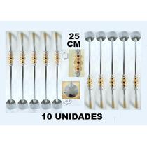 10x B18 Bomba Chimarrão C/pedras Vermelhas 25cm Aço Niquel