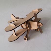 Quebra Cabeça 3d - Coleção Aviões - Biplano Em Mdf