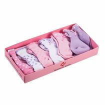 Kit 6 Pares De Meias Bebê Com Caixa Para Presente Rosa Azul