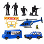 Miniaturas Carrinho, Helicóptero, Soldados E Placas - 9 Pç