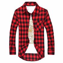 Camisa Social Masculina Xadrez Manga Comprida Luxo 2016