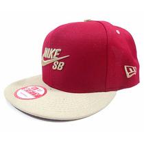 Bone Nke Vermelho Sb Aba Reta Snapback Nike Lançamento