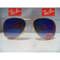 Oculos De Sol Rayban 3025 Aviador Dourado Lente Azul Degrade